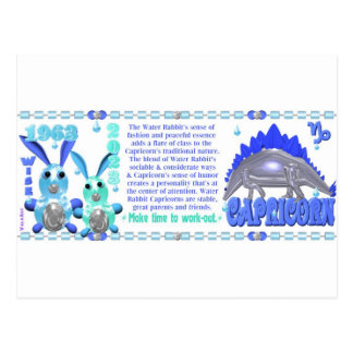 Valxart 1963 Water Rabbit zodiac born Capricorn Postcard