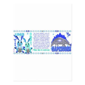 ValxArt 1963 zodiac water rabbit born Capricorn Postcard