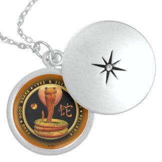 Valxart 1965 2025 Wood Snake zodiac Aquarius Round Locket Necklace