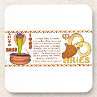 Valxart 1965 2025 Wood Snake zodiac Aries Drink Coaster