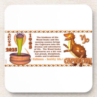 Valxart 1965 2025 Wood Snake zodiac Capricprn Beverage Coaster