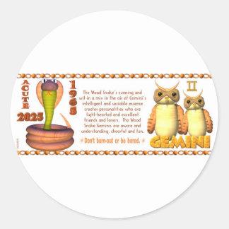 Valxart 1965 2025 Wood Snake zodiac Gemini Classic Round Sticker