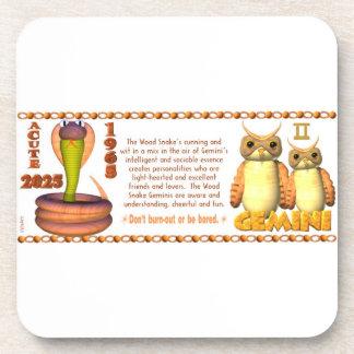Valxart 1965 2025 Wood Snake zodiac Gemini Coaster