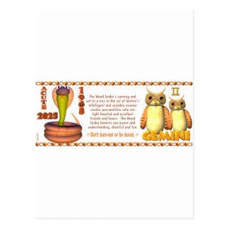 Valxart 1965 2025 Wood Snake zodiac Gemini Postcard