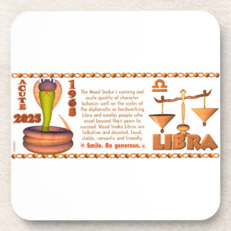 Valxart 1965 2025 Wood Snake zodiac Libra Beverage Coaster