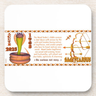 Valxart 1965 2025 Wood Snake zodiac Sagittarius Beverage Coaster