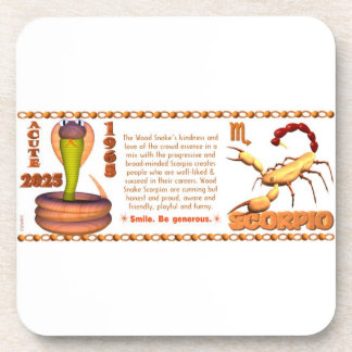 Valxart 1965 2025 Wood Snake zodiac Scorpio Drink Coaster