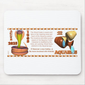 ValxArt 1965 Chinese zodiac wood snake Aquarius Mouse Pad