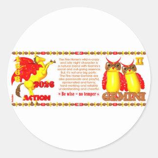 Valxart 1966 2026 Fire Horse zodiac Gemini Classic Round Sticker