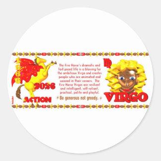 Valxart 1966 2026 Fire Horse zodiac Virgo Classic Round Sticker