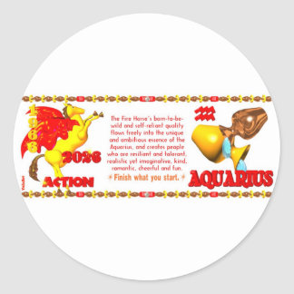 Valxart 1966 2026 Fire Sheep zodiac Aquarius Classic Round Sticker