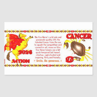 Valxart 1966 2026 Fire Sheep zodiac Cancer Rectangular Sticker