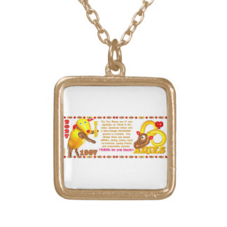 Valxart 1967 2027 Fire Sheep zodiac Aries Square Pendant Necklace