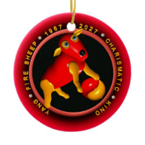Valxart 1967 2027 Fire Sheep zodiac Capricorn Ceramic Ornament