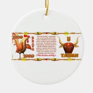 Valxart 1969 2029 Earth Roster zodiac Taurus Ceramic Ornament