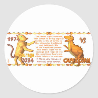 ValxArt 1974 2034 Chinese zodiac wood tiger people Classic Round Sticker