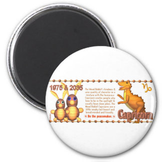 Valxart 1975 2035 WoodRabbit Zodiac born Capricorn 2 Inch Round Magnet