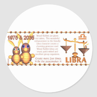 ValxArt 1975 Chinese zodiac wood rabbit born Libra Classic Round Sticker