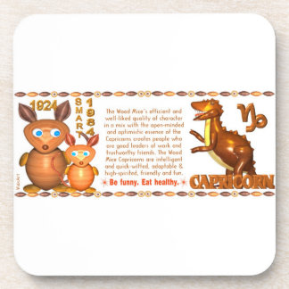 Valxart 1984 2044 WoodRat zodiac born Capricorn Drink Coaster