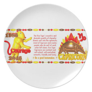 Valxart 1986 2046 FireTiger zodiac Capricorn Party Plates
