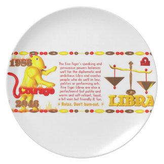 Valxart 1986 2046 FireTiger zodiac Libra Party Plates