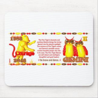 ValxArt 1986 2046 Zodiac fire tiger born Gemini Mouse Pad