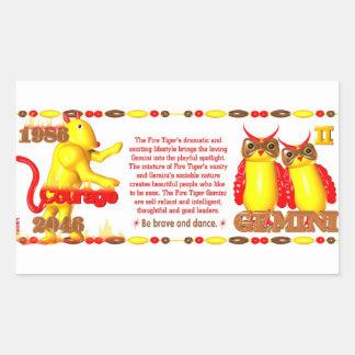 ValxArt 1986 2046 Zodiac fire tiger born Gemini Rectangular Sticker