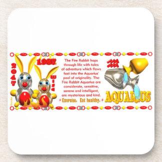 Valxart 1987 2047 FireRabbit zodiac Aquarius Beverage Coaster