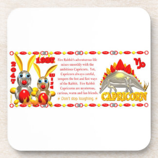 Valxart 1987 2047 FireRabbit zodiac Capricorn Coaster