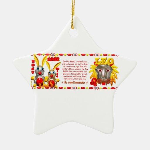 Valxart 1987 2047 FireRabbit zodiac Leo Christmas Ornament