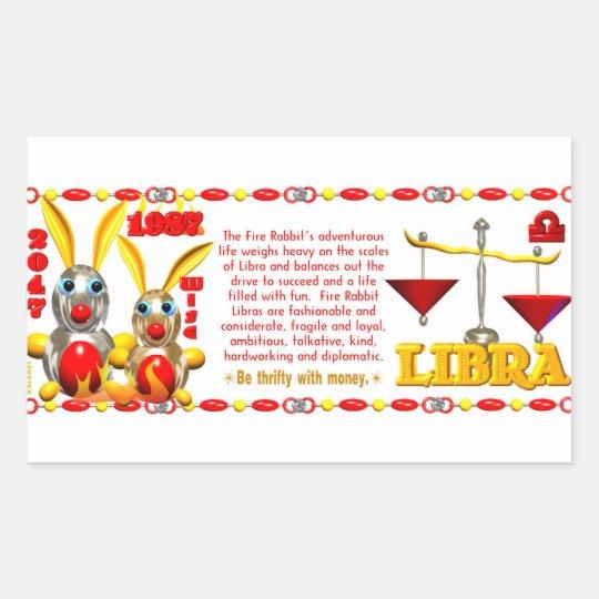 Valxart 1987 2047 FireRabbit zodiac Libra Rectangular Sticker