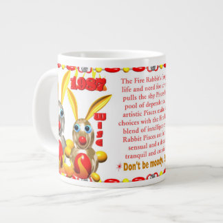 Valxart 1987 2047 FireRabbit zodiac Pisces Large Coffee Mug