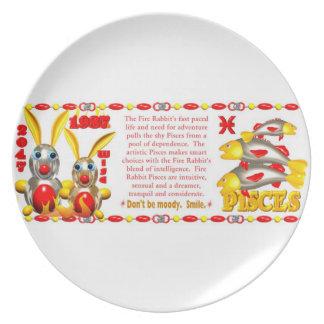 Valxart 1987 2047 FireRabbit zodiac Pisces Plate