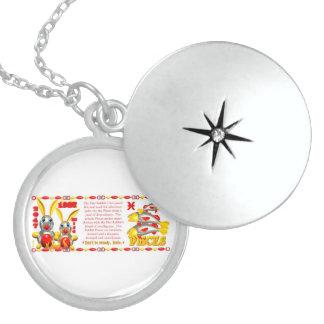 Valxart 1987 2047 FireRabbit zodiac Pisces Round Locket Necklace