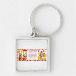 Valxart 1987 2047 FireRabbit zodiac Pisces Silver-Colored Square Keychain