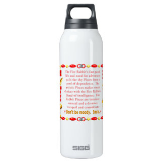 Valxart 1987 2047 FireRabbit zodiac Pisces Thermos Bottle