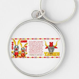Valxart 1987 2047 FireRabbit zodiac Taurus Silver-Colored Round Keychain