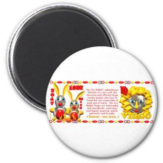 Valxart 1987 2047 FireRabbit zodiac Virgo 2 Inch Round Magnet