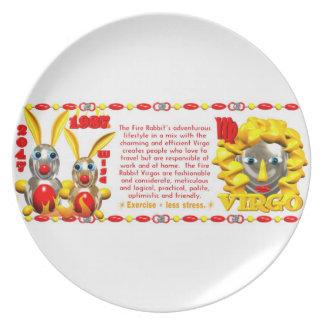 Valxart 1987 2047 FireRabbit zodiac Virgo Melamine Plate