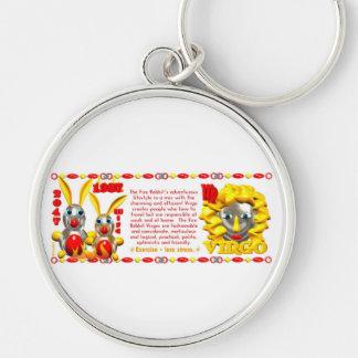 Valxart 1987 2047 FireRabbit zodiac Virgo Silver-Colored Round Keychain