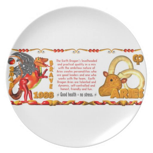 Valxart 1988 2048 EarthDragon zodiac Aries Party Plate