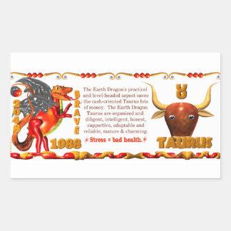 Valxart 1988 2048 tauro del zodiaco de EarthDragon Pegatina Rectangular