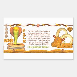Valxart 1989 2049 aries del zodiaco de EarthSnake Pegatina Rectangular