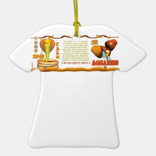 Valxart 1989 2049 EarthSnake zodiac Aquarius Double-Sided T-Shirt Ceramic Christmas Ornament