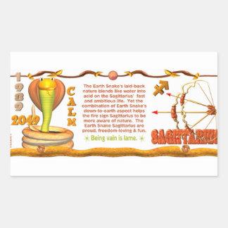 Valxart 1989 2049 EarthSnake zodiac  Sagittarius Rectangular Sticker