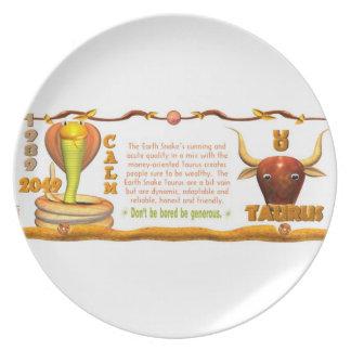 Valxart 1989 2049 EarthSnake zodiac Taurus Melamine Plate