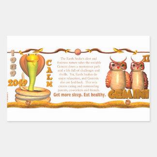 Valxart 1989 2049 géminis del zodiaco de pegatina rectangular