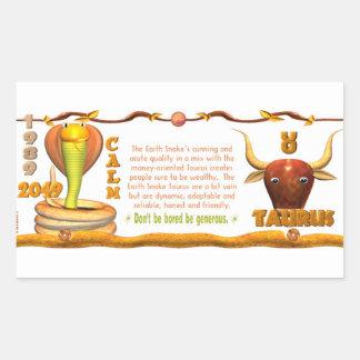 Valxart 1989 2049 tauro del zodiaco de EarthSnake Pegatina Rectangular