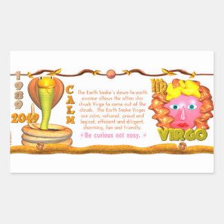 Valxart 1989 2049 virgos del zodiaco de EarthSnake Pegatina Rectangular