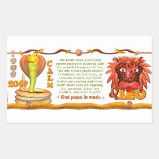 Valxart 1989 2049 zodiacos Leo de EarthSnake Pegatina Rectangular